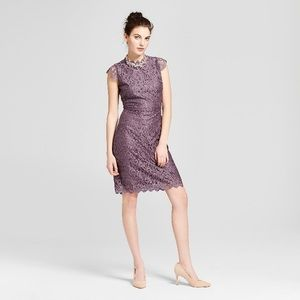 Purple Lace Keyhole Back Dress
